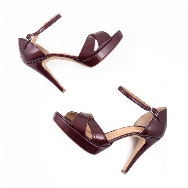 Sandale din piele lacuita visinie 2