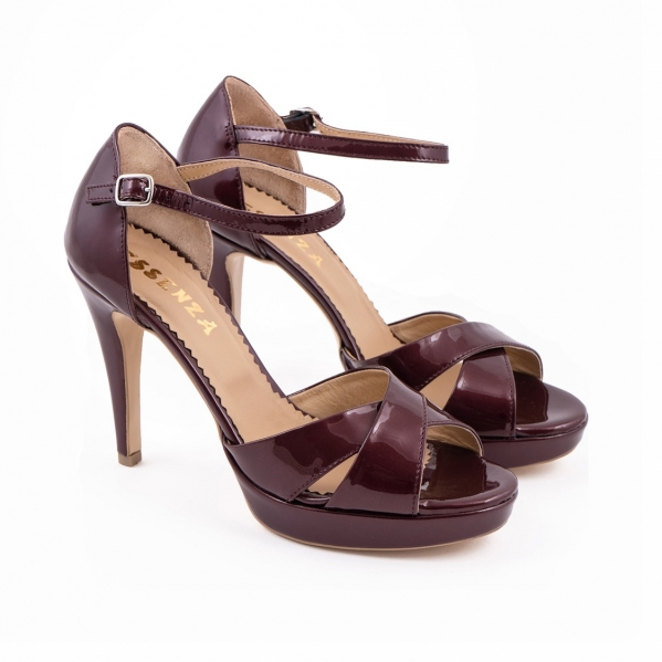 Sandale din piele lacuita visinie 1