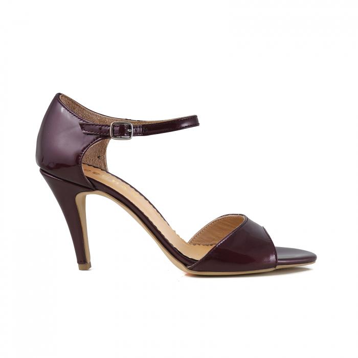 Sandale din piele lacuita visinie, cu toc stiletto 0