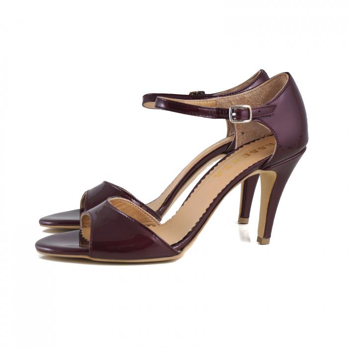 Sandale din piele lacuita visinie, cu toc stiletto 1