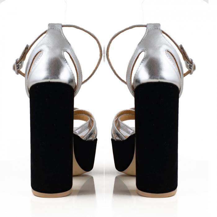 Sandale din piele laminata argimntie si catifea neagra, cu toc gros patrat si platforma 2