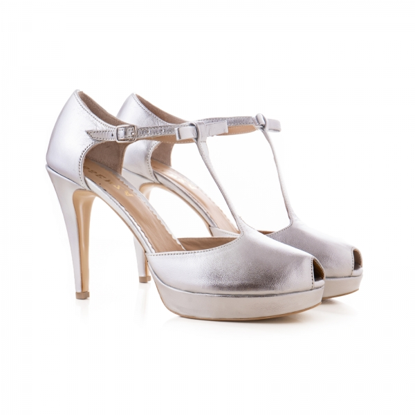 Sandale din piele laminata argintie 1