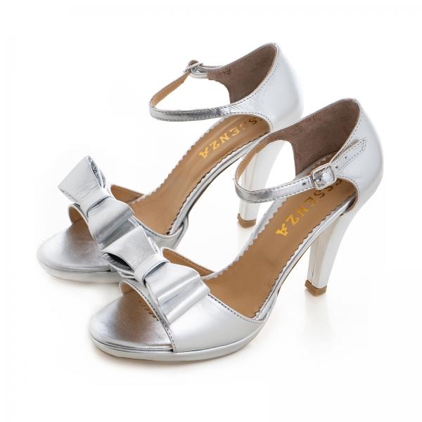 Sandale din piele laminata argintie, cu funde duble 2