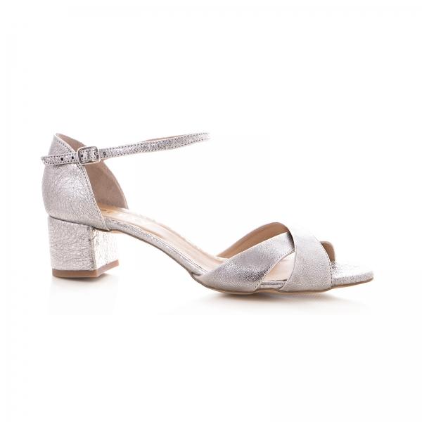 Sandale din piele laminata argintie, cu toc gros [0]