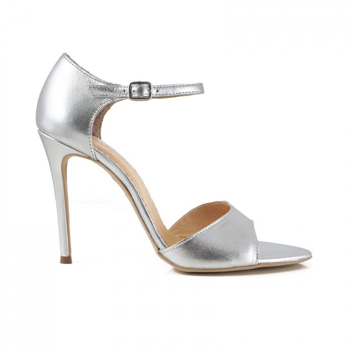 Sandale din piele laminata argintie, cu toc stiletto 0