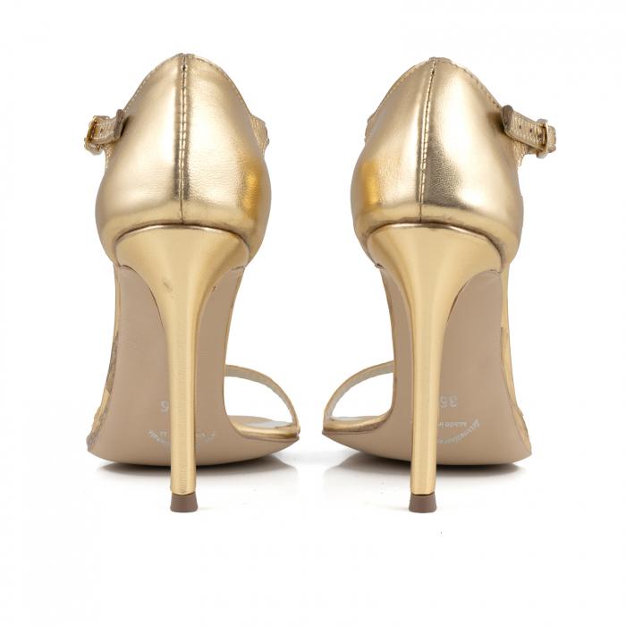 Sandale din piele laminata aurie 4