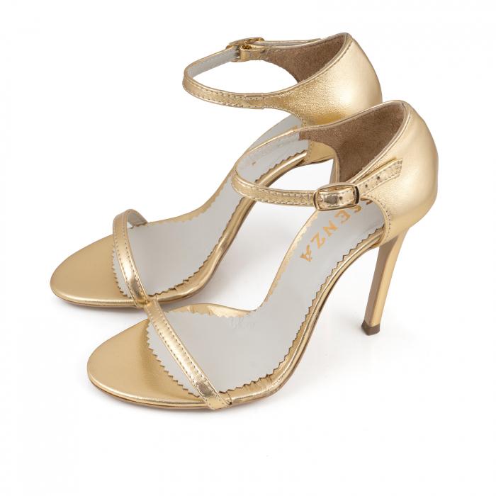 Sandale din piele laminata aurie 2