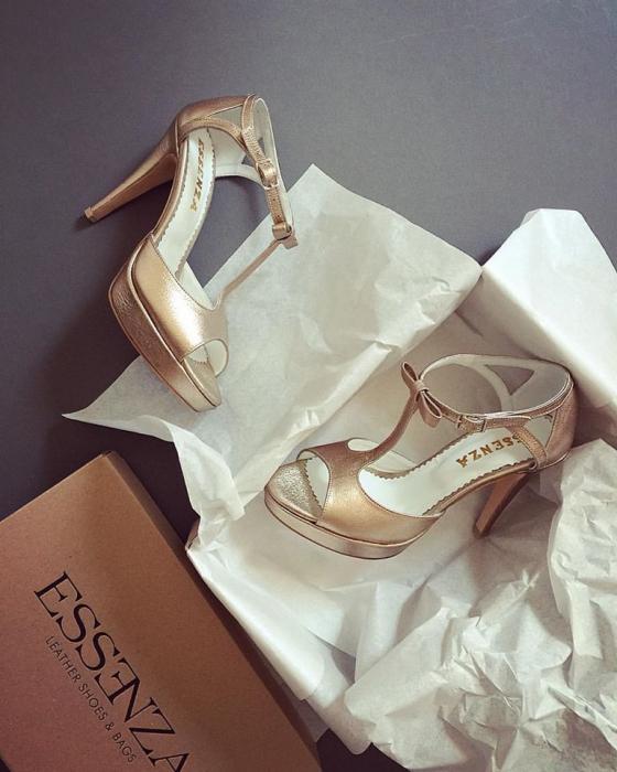 Sandale din piele laminata, auriu 0