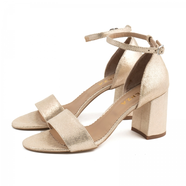 Sandale din piele laminata auriu-roze, cu toc gros. 1