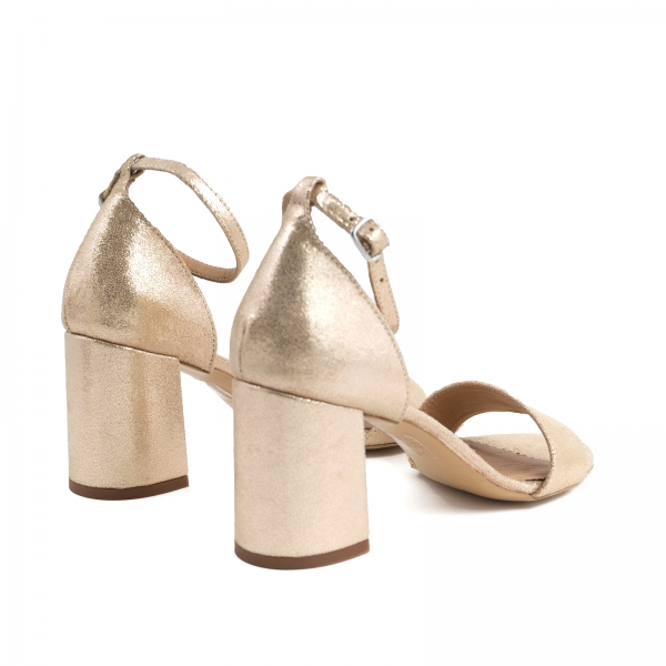 Sandale din piele laminata auriu-roze, cu toc gros. 3