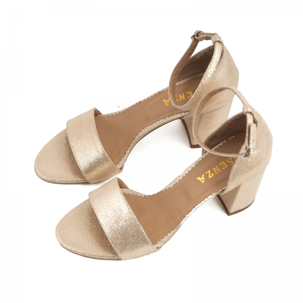 Sandale din piele laminata auriu-roze, cu toc gros. 2