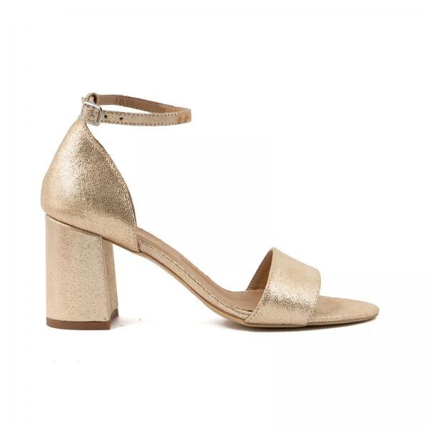 Sandale din piele laminata auriu-roze, cu toc gros. 0