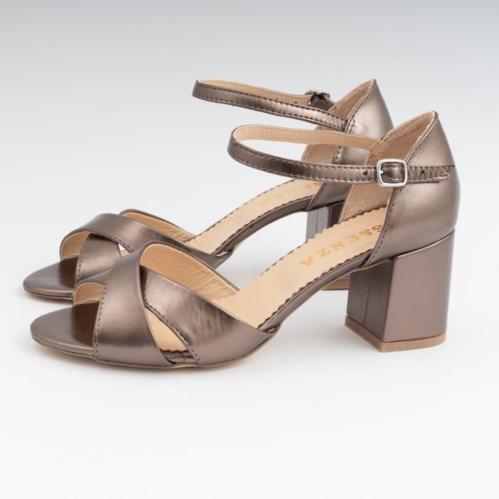 Sandale din piele laminata bronz, cu toc gros 1