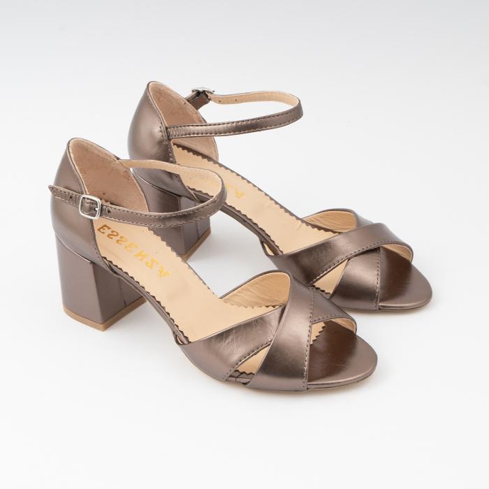 Sandale din piele laminata bronz, cu toc gros 2