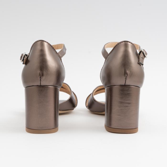 Sandale din piele laminata bronz, cu toc gros 4