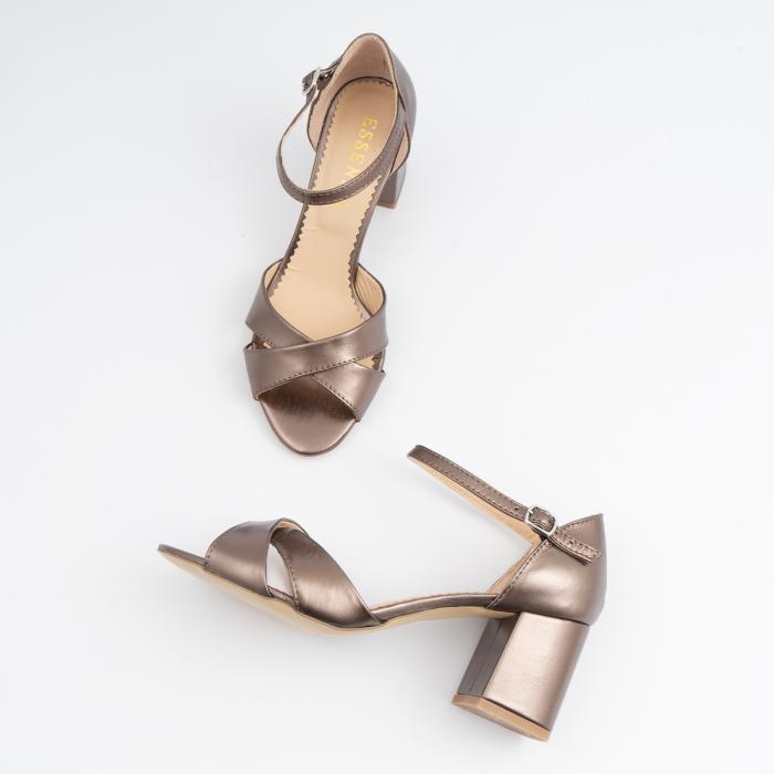 Sandale din piele laminata bronz, cu toc gros 3