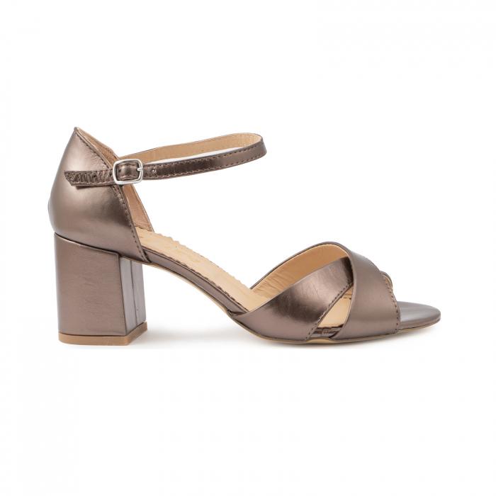 Sandale din piele laminata bronz, cu toc gros 0