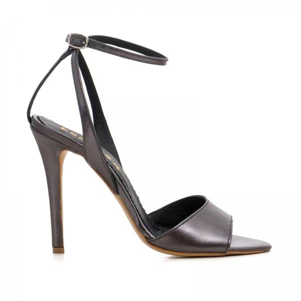 Sandale din piele metalizata gri 0