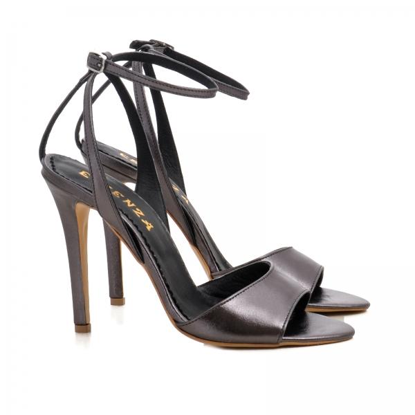 Sandale din piele metalizata gri 1