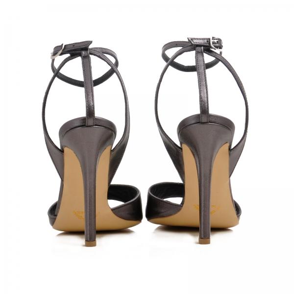 Sandale din piele metalizata gri 2
