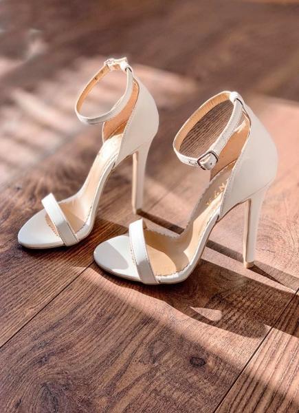 Sandale din piele naturala, alb unt. 0