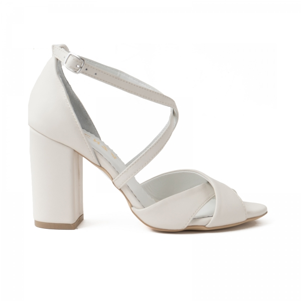 Sandale din piele naturala alb-unt 0