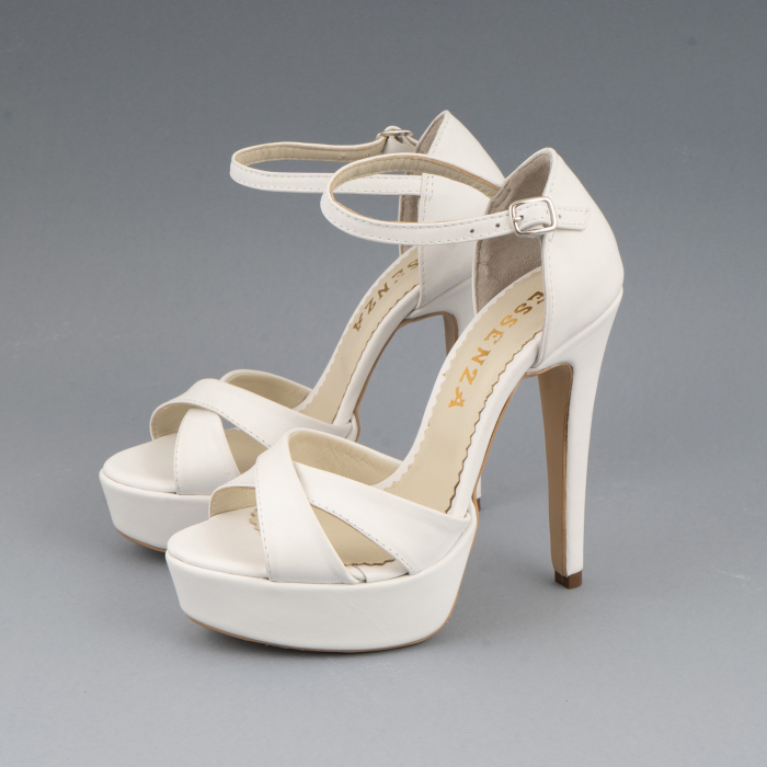 Sandale din piele naturala, alb unt 1