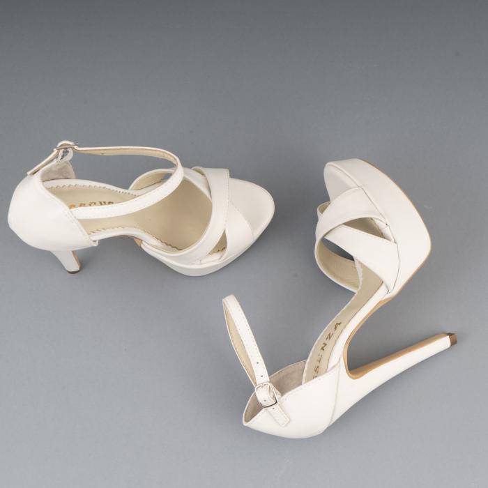 Sandale din piele naturala, alb unt 2