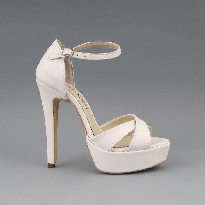 Sandale din piele naturala, alb unt 0