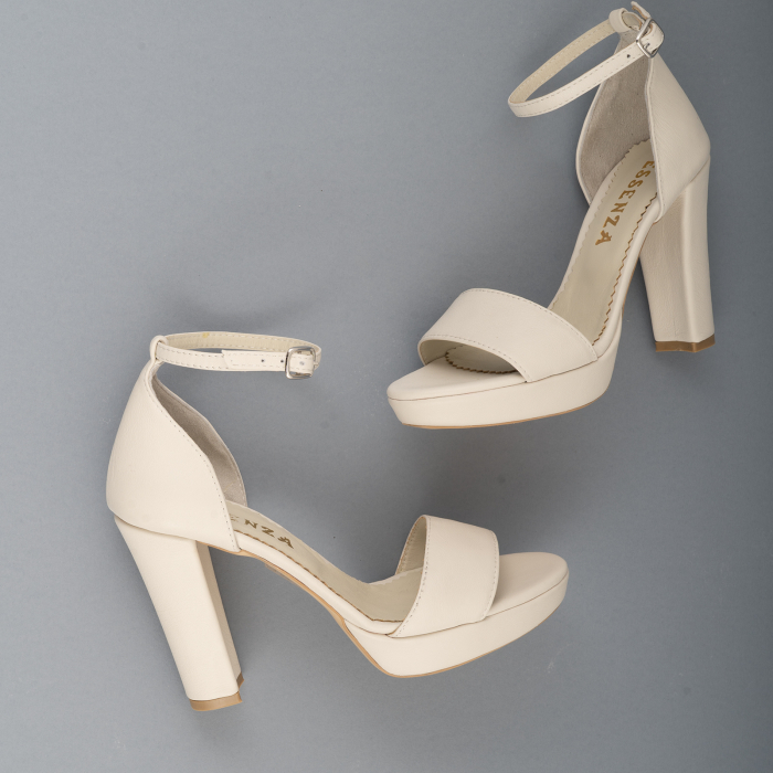 Sandale din piele naturala alb-unt, cu bareta deasupra gleznei, si toc gros 3