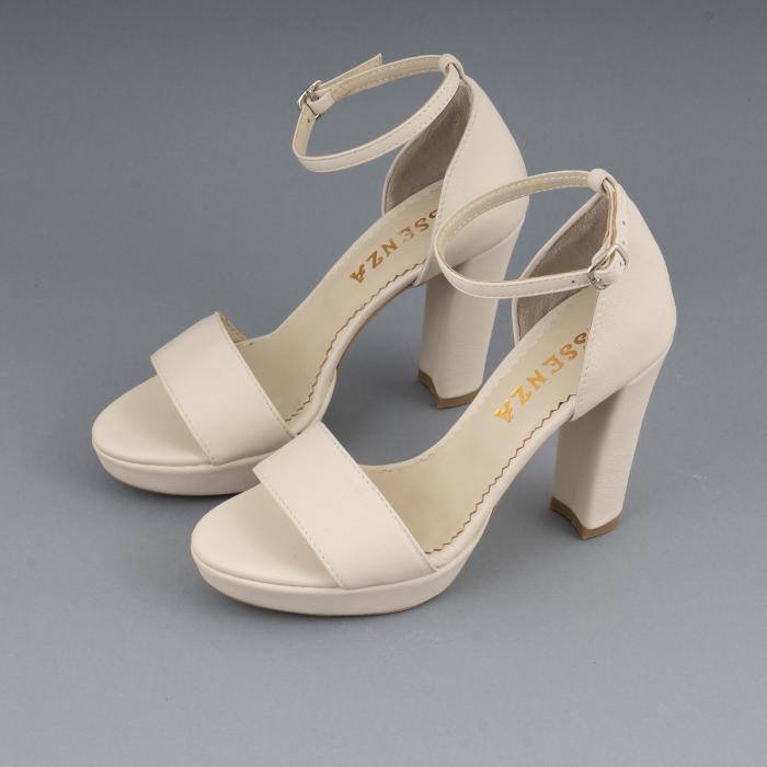 Sandale din piele naturala alb-unt, cu bareta deasupra gleznei, si toc gros 2