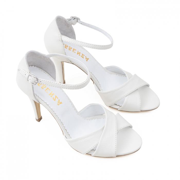 Sandale din piele naturala alba 2