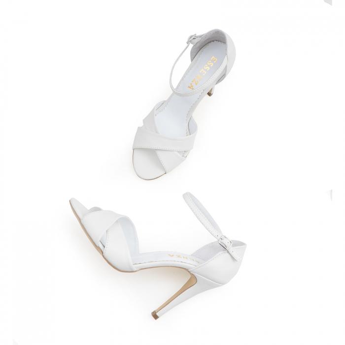 Sandale din piele naturala alba 3