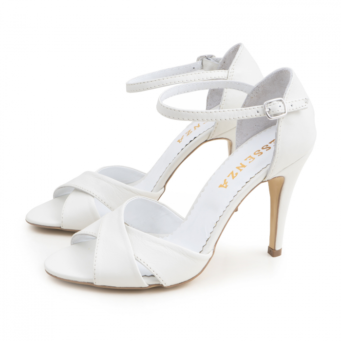 Sandale din piele naturala alba 1