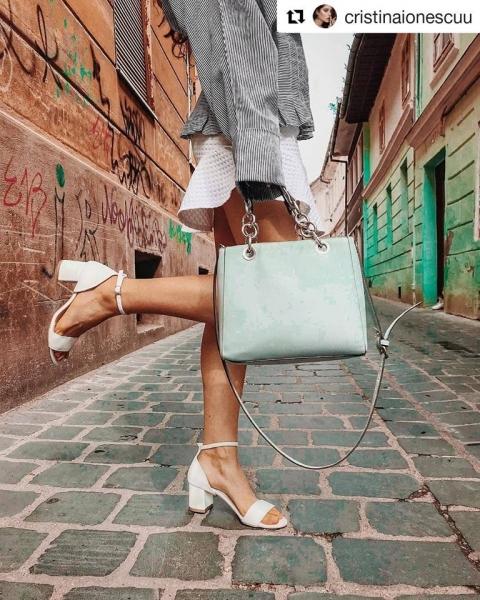Sandale din piele naturala alba, cu toc gros de 6cm 0