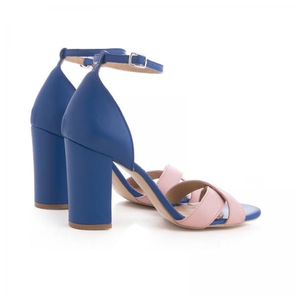 Sandale din piele naturala albastra si roz [2]