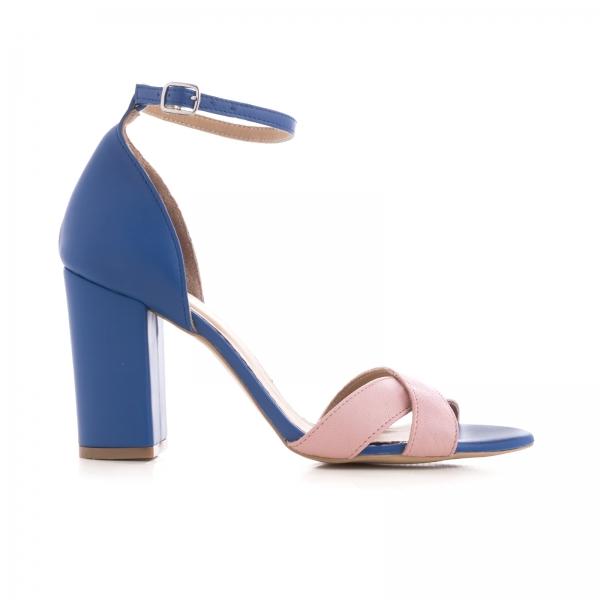 Sandale din piele naturala albastra si roz [0]