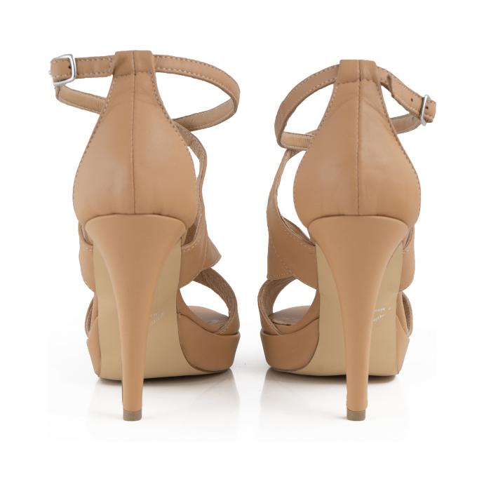 Sandale din piele naturala beige [3]