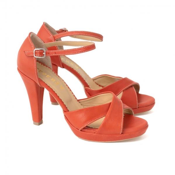 Sandale din piele naturala coral 1