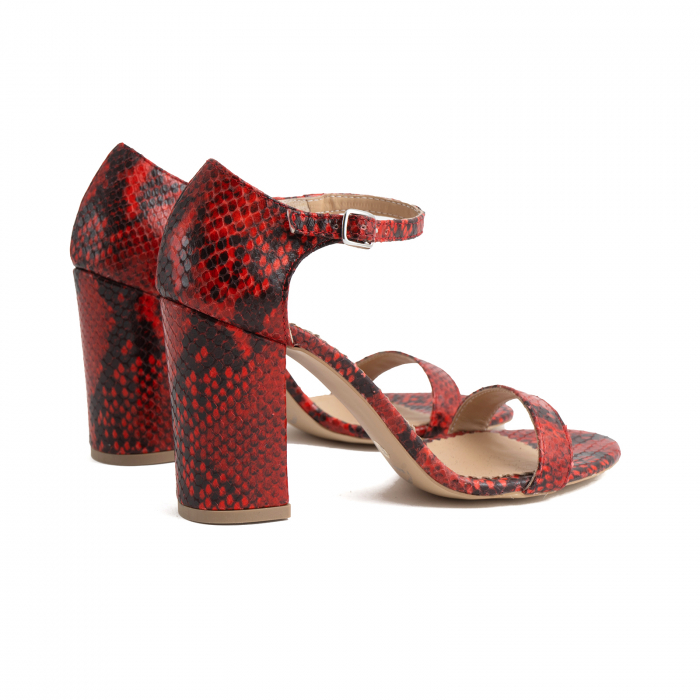 Sandale din piele naturala cu aspect tip piton rosu/negru 4