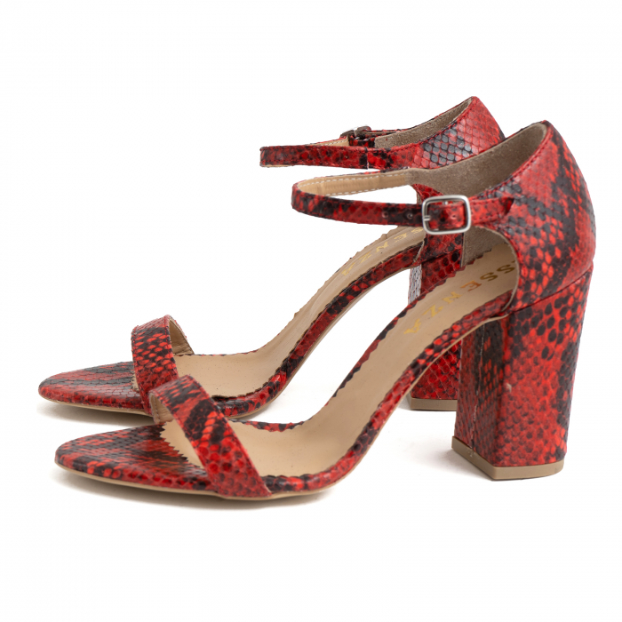 Sandale din piele naturala cu aspect tip piton rosu/negru 1