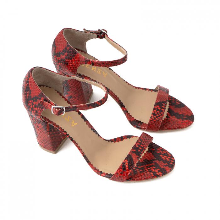 Sandale din piele naturala cu aspect tip piton rosu/negru 2