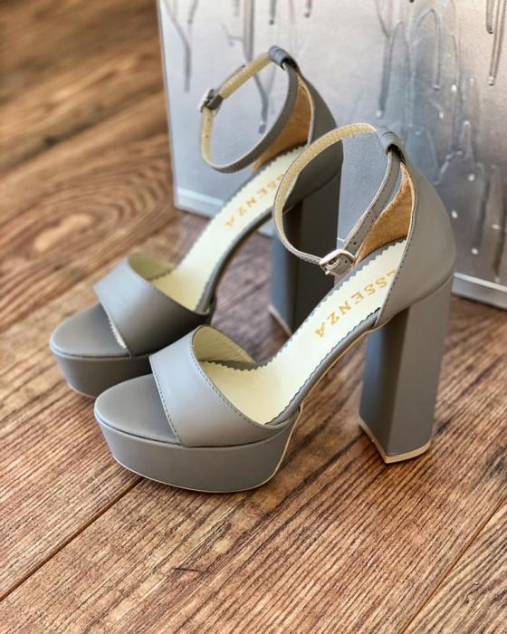 Sandale din piele naturala gri, cu toc gros patrat si platforma 0