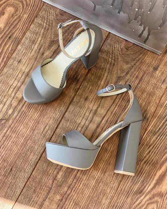 Sandale din piele naturala gri, cu toc gros patrat si platforma 1