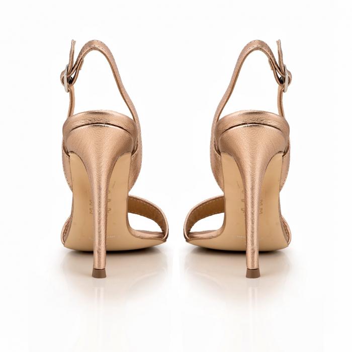 Sandale din piele naturala metalizata rose si visinie 4