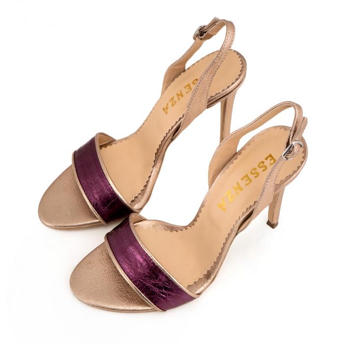 Sandale din piele naturala metalizata rose si visinie 3