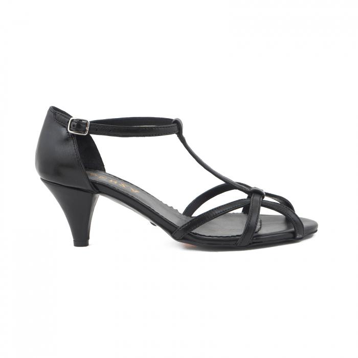 Sandale din piele naturala neagra [0]
