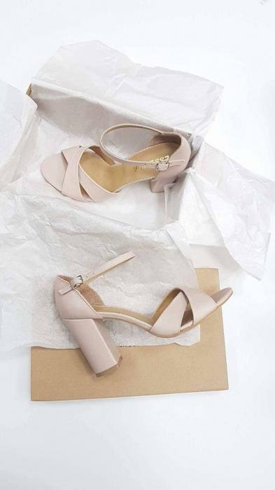 Sandale din piele naturala nude rose 0