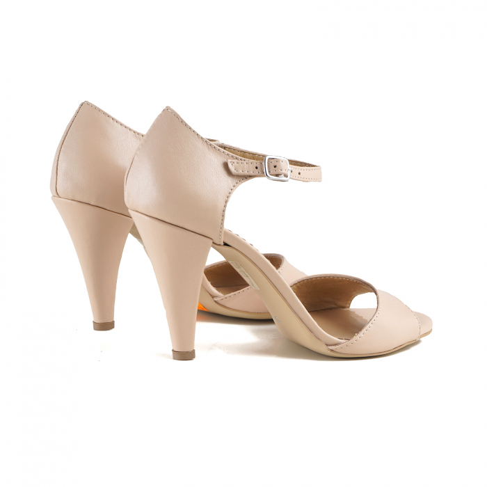 Sandale din piele naturala nude-rose, cu toc conic 2