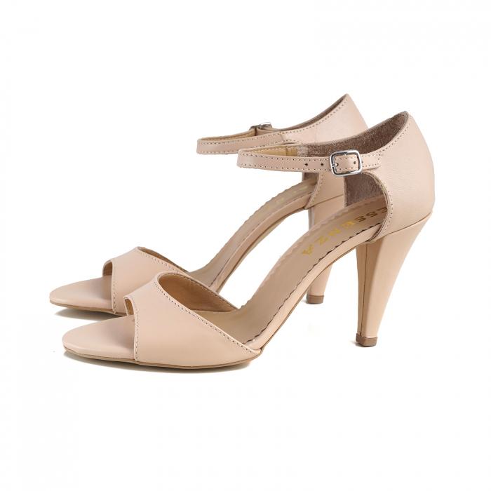 Sandale din piele naturala nude-rose, cu toc conic 1